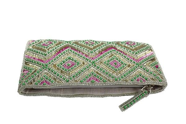 Zig Zag Beaded Evening Clutch These beautiful beaded evening clutch purses are hand made will exceptional detail and satin lining.