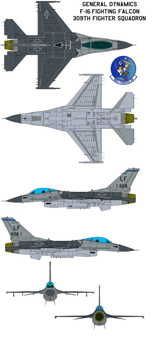 General Dynamics F-16 Fighting Falcon 309th Fighter Squadron General characteristics Crew: 1 Length: 49 ft 5 in (15.06 m) Wingspan: 32 ft 8 in (9.96 m) Height: 16 ft (4.88 m) Wing area: 300 ft² (27...