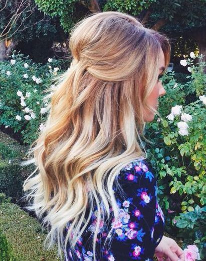 bridal hair half updo for long hair