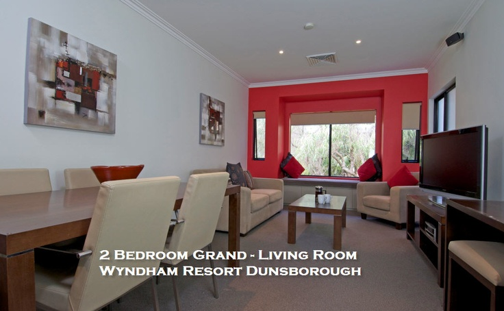 Stunning red feature wall in the 2 Bedroom Grand apartment.