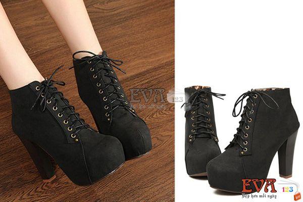Boots cao gót da lộn phong cách Lolita size 38 - EV63 - Thời Trang Nữ - eva123.vn
