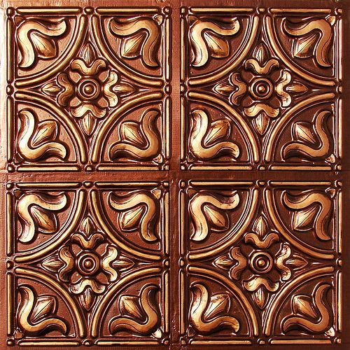 Faux tin glue up ceiling tile #148 Antique Copper (at www.… | Flickr