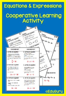 Expressions and Equations Cooperative Learning Activities from EduGuru on TeachersNotebook.com -  (14 pages)  - This is differentiated learning activities that can be used when introducing algebraic expressions and equations to your students. It meets and exceeds common core standards for mathematics.