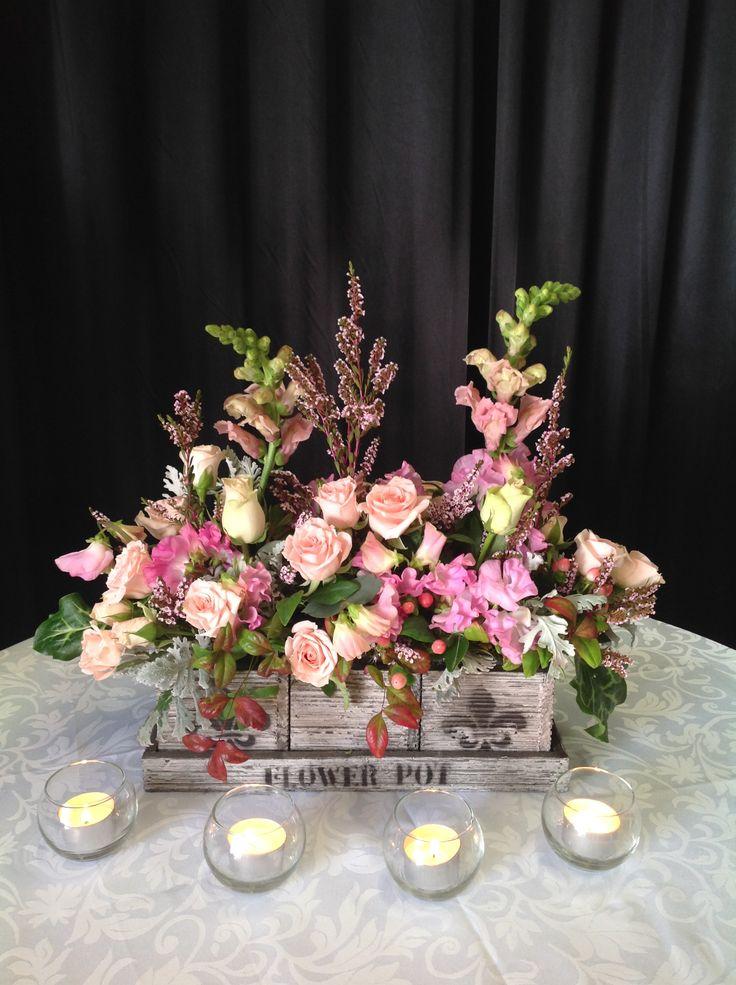 Pretty flower box centrepiece for  a baby girl christening www.houseofthebride.com.au