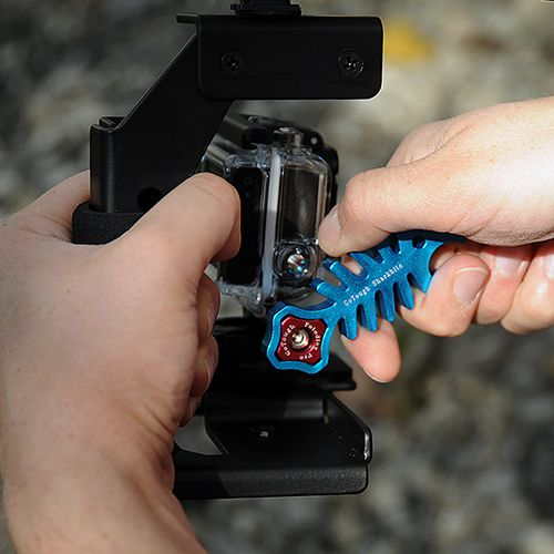 The SharkBite is a wrench designed to perfectly fit GoPro style thumbscrews. You'll get more torque for a tighter fit when building your GoPro rig when you're shooting fast-moving action. Vibration can easily loosen hand-tightened thumbscrews. With an quick twist or two of the Sharkbite, you'll get that extra secure grip to make sure your camera stays on target. Especially crucial with larger setups that use multiple extensions and multiple thumbscrews.