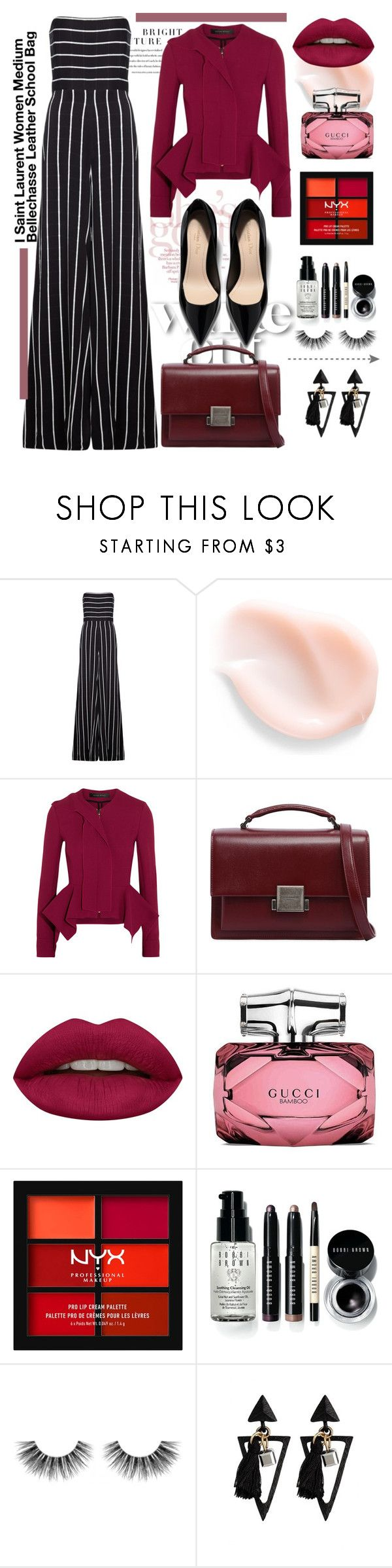 """Saint Laurent Women Medium Bellechasse Leather School Bag"" by esamames ❤ liked on Polyvore featuring Safiyaa, Roland Mouret, Yves Saint Laurent, Huda Beauty, Gucci, NYX, Bobbi Brown Cosmetics and Velour Lashes"