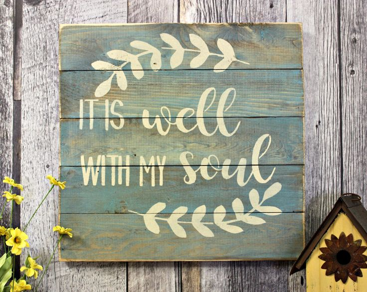 It Is Well With My Soul. Inspirational. Rustic. Counrty. Distressed. Handmade. Made in Canada. Home Decor. Wall Decor. Wood Sign. by WhereTheCrowFliesCA on Etsy