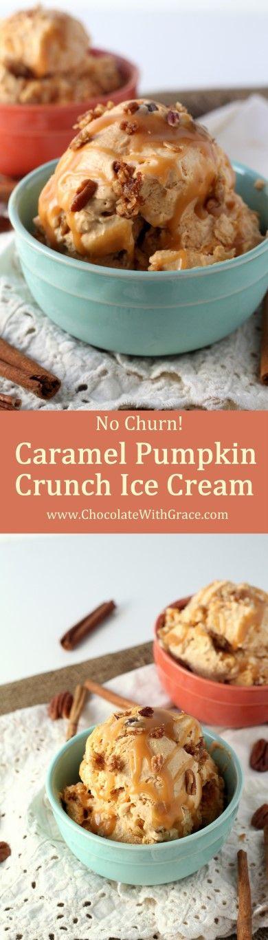 Caramel Pumpkin Crunch Ice Cream - An easy, no churn pumpkin ice cream with a caramel swirl and crunchy brown sugar pecan bits.