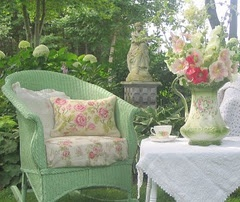 :( This screams my grandma.  She loved green and pink together.  AND she loved wicker furniture outside.  So sweet.