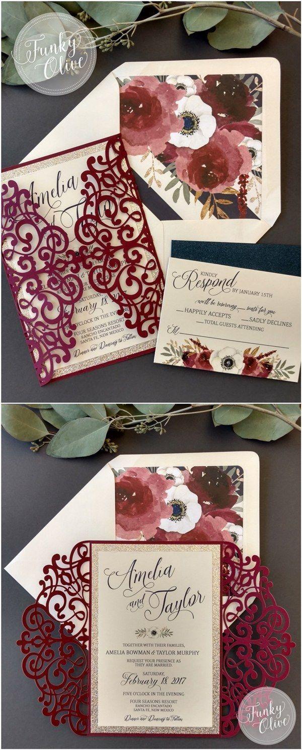 Maroon and blue wedding decor  Package Burgundy Navy Gold Glitter Anemone Florals Laser Cut Wedding