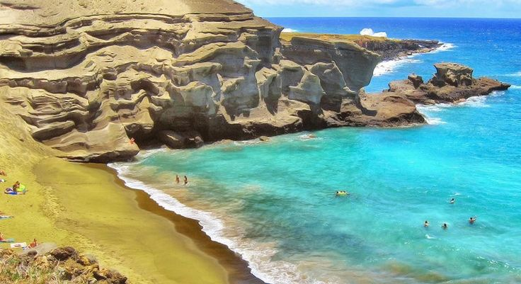 Papakolea Beach, Hawaii - One of the only green-sand beaches in the world happens to be on the Big Island. (Remnants of a volcanic cinder cone give the sand its olive hue.)