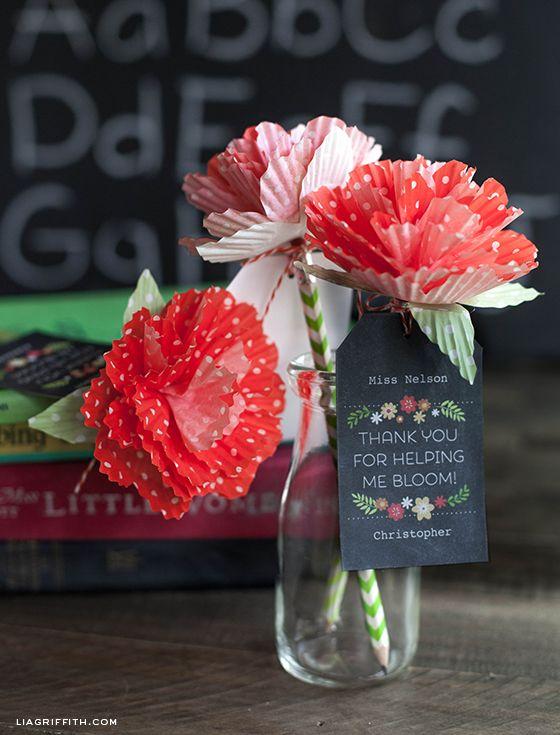 Teacher Appreciation Gift tags + Cupcake Liner Flowers