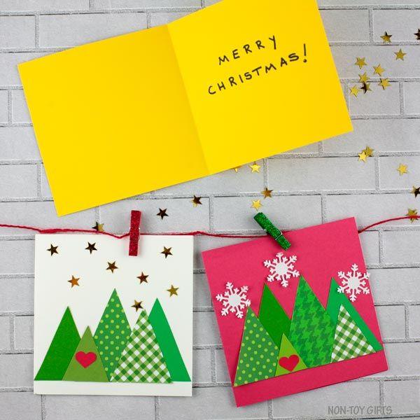 Triangle Christmas Tree Cards Kids Can Make Christmas Tree Template Christmas Cards Kids Christmas Cards Handmade Kids Christmas Tree Cards