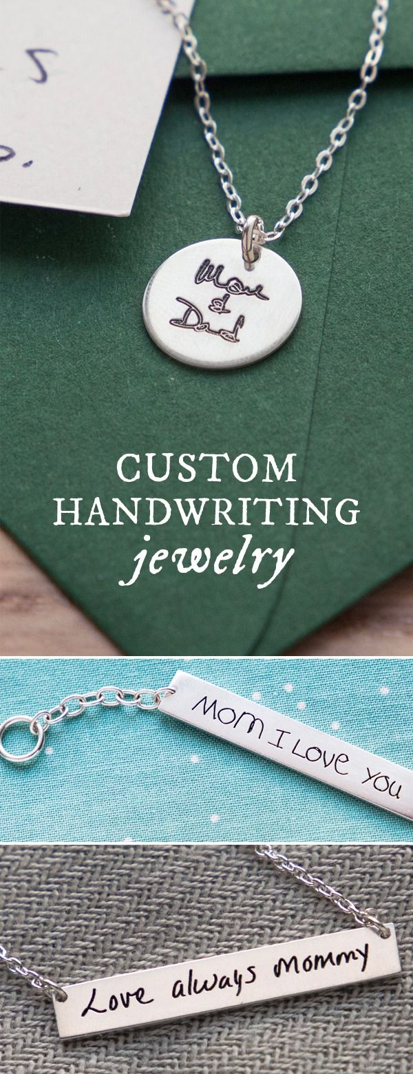 Custom laser-etched jewelry with a loved one's handwriting is as personal as it gets. Great gifts for mom.