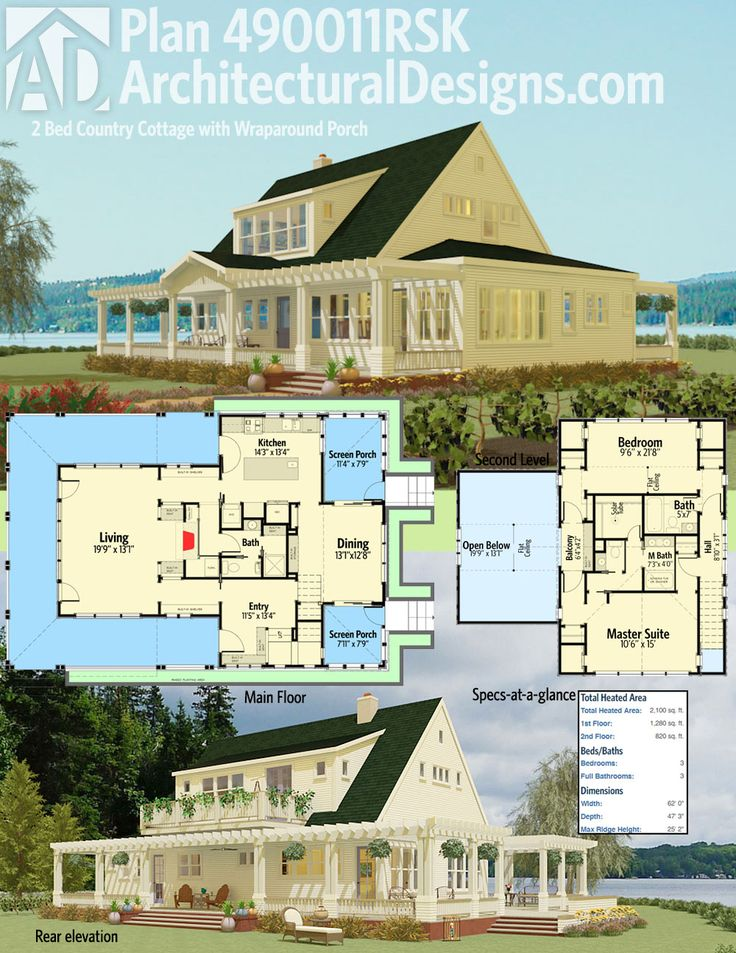 Architectural Designs 2 Bed Country Cottage with Wraparound Porch House Plan 490010RSK gives you 2,100 square feet of living space, 2-3 bedrooms and 2 baths. Ready when you are. Where do YOU want to build?