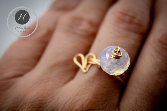 Gold Knot-Moonstone-Heart Charm Ring by HelenaBausJewellery