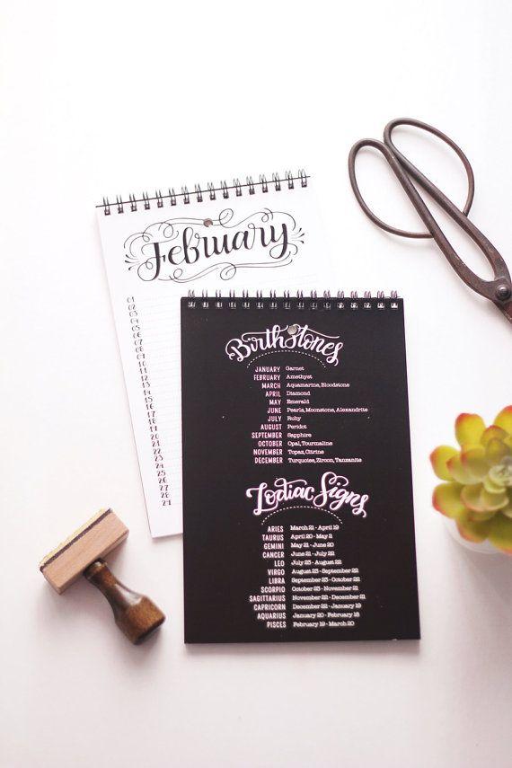 Eeuwigdurende kalender verjaardagskalender Hand door HowjoyfulShop