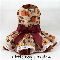 Who can not see their little doggy girl in this adorable pumpkin print dog dress?  Get yours today, in time for fall!  http://www.littledogfashion.com/Pumpkin-Patch-Fall-Thanksgiving-Dresses-for-Dogs-p/pumpkinpatch-dres.htm