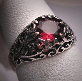 Antique Garnet Wedding Ring Vintage Victorian Filigree