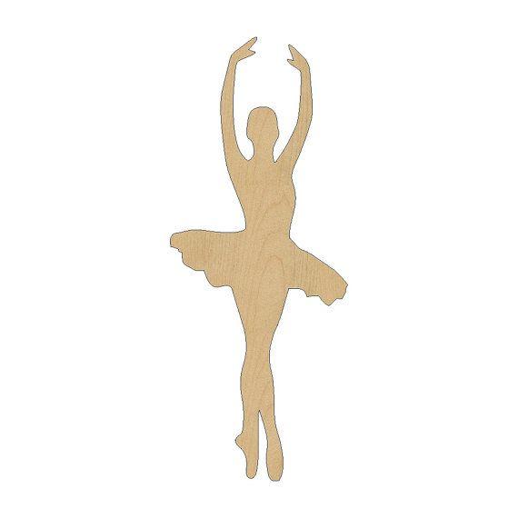 Ballerina balletto ballerino estirpare forma taglio Laser incompiuto legno forme, forme di artigianato, etichette regalo, ornamenti #251 tutte le dimensioni