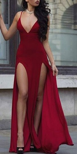 She looks so amazing in this red double slit maxi dress