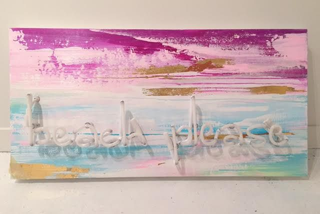 "Beach Please Acrylic, gold leaf on panel, green neon 18"" x 36"" $1420"