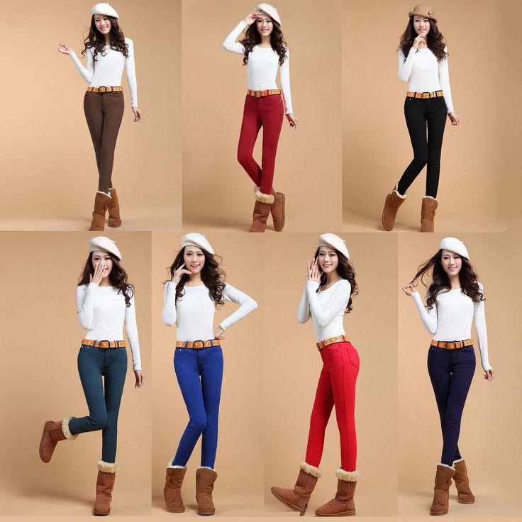 Women'S Crop Jeans Winter Thicken Cotton Pencil Pants Large Faux Jeans Leggings