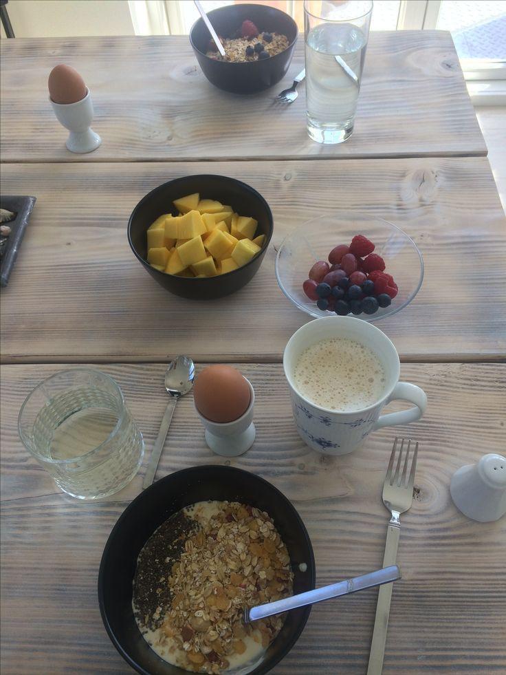 A healthy way to start your day Breakfast #chia #mango #raspberries