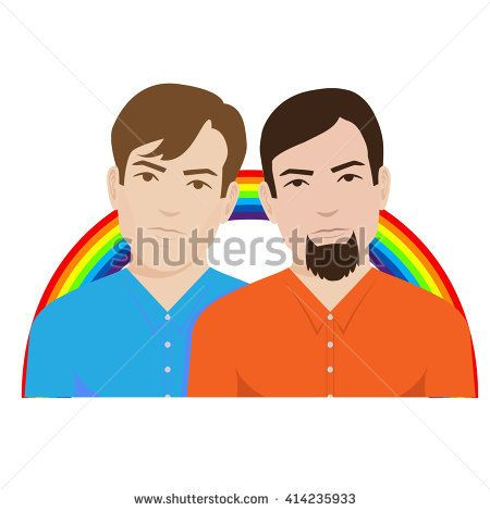 gay couple with rainbow in the background. Isolated on white