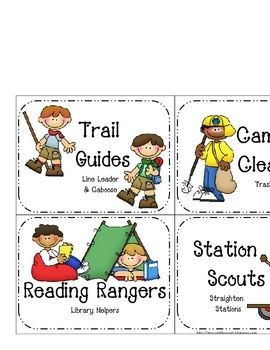 This is a set of job cards plus a header and name cards for a camping/hiking/outdoors classroom. There are 14 job cards for 2 plus students or 16 i...
