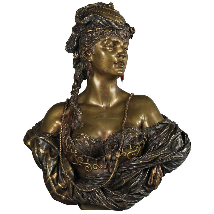 Important Multi-Patinated Bronze Orientalist Female Bust by Henri Honoré Plé | From a unique collection of antique and modern sculptures at https://www.1stdibs.com/furniture/decorative-objects/sculptures/