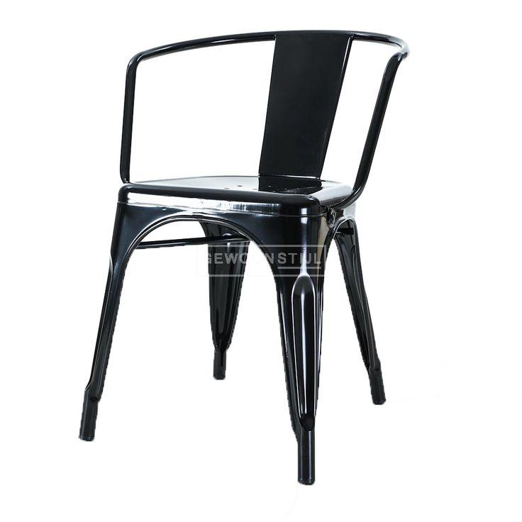 ✔️ Legend | Café armstoel  | Tolix Chaise A56 | Metalen café stoel | Design stoel industrieel  | Zilver (zithoogte 44 cm)
