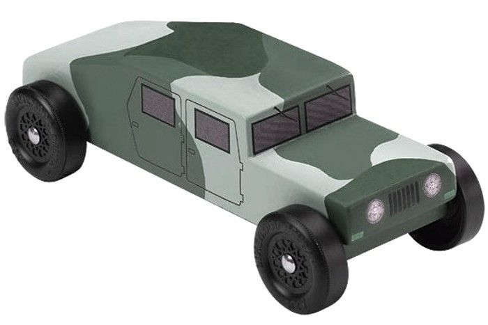 Pinewood Derby Car - lots of free templates here - and we'll be doing the HUMVEE.  w00t!