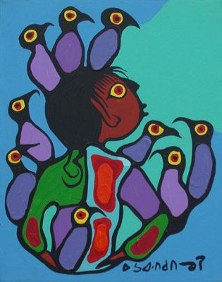 Boy With Birds On Head - Norval Morrisseau Gallery - Red Kettle Art And Collectibles