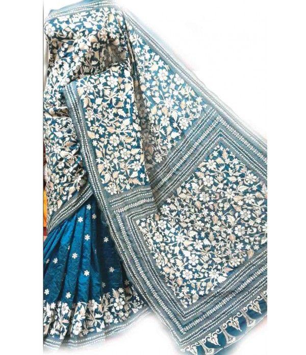 Turquoise blue Kantha Work Silk Saree