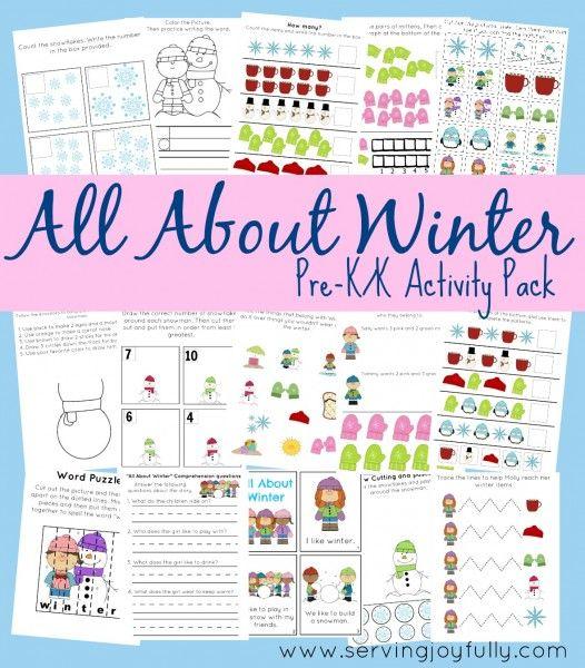 Free Kindergarten Printables: 25+ Pages Winter Set | Free Homeschool Deals ©