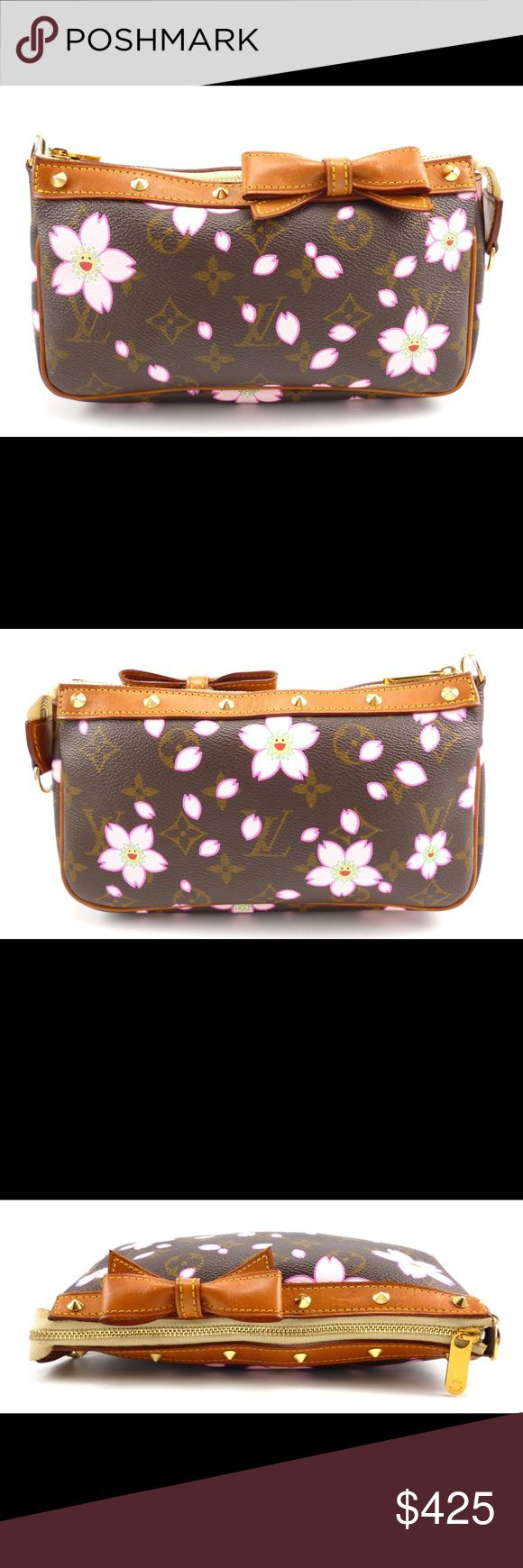 Louis Vuitton Cherry Blossom Monogram Pouchette Authentic Louis Vuitton Takashi Murakami Cherry Blossom Monogram Canvas Pouchette. Multi-color cherry blossoms with gold tone hardware, natural leather trim, bow in the front with stud accents. Suede lining and zip top closure makes this the perfect bag for your everyday essentials. In wonderful condition this bag seems to have been used only a few times. It is missing the leather strap. Guaranteed Authentic! Date Code: AR0013 (France 2003)…