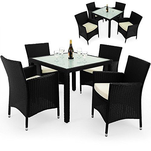 Poly Rattan Garden Furniture Dining Table And Chairs Set Outdoor Patio  Conservatory 4 Seater Black With Glass Table Top