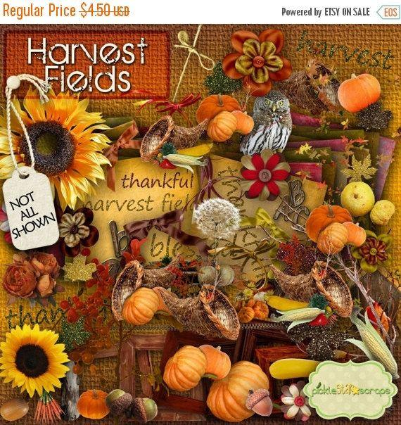 ON SALE Harvest Fields  Fall Autumn themed  by PickleStarScraps