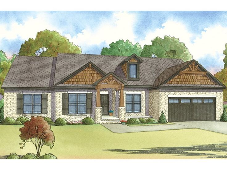 e-Plans Ranch House Plan – Brick Ranch With Rustic Accents – 2119 Square Feet and 4 Bedrooms from e-plans – House Plan Code HWEPL77878