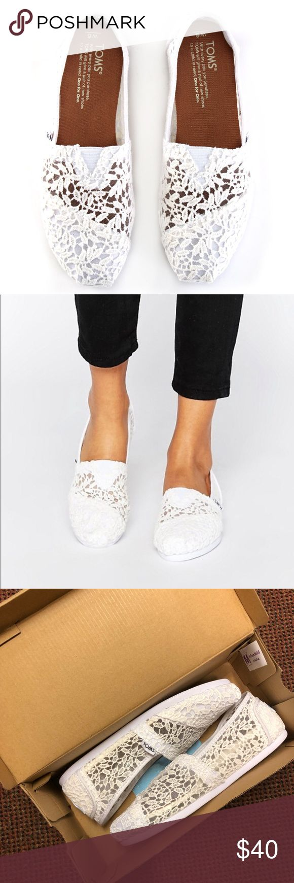 White lace toms NEVER WORN BRAND NEW TOMS! never worn! Come with original box and toms sticker! Toms Shoes Flats & Loafers
