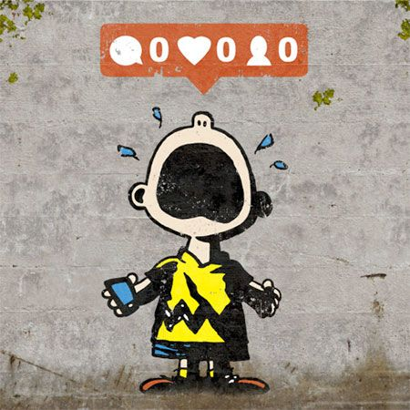Social Media Street Art. So funny from Charlie Brown. No likes, comments or friend request... he is crying! awe... Please also visit www.JustForYouPropheticArt.com for more colorful art you might like to pin. Thanks for looking!