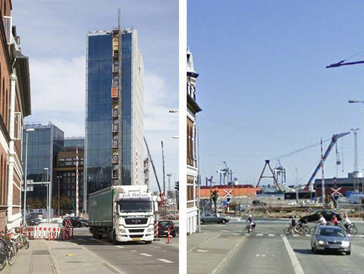 Til venstre det nye kig ud mod havnen og Bestseller-huset - set fra Nørreport. Til højre den tidligere udsigt. Fotografik: Kim Haugaard og Jens Nex.