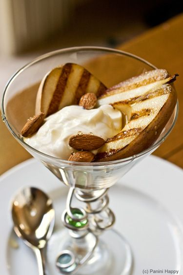 Grilled Pears with Honey-Whipped Greek Yogurt and Toasted Almonds    I would reduce the butter as much as possible.