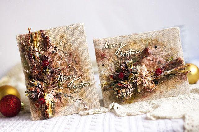 Scrapbooking by Chihan: Рождественские открытки с тканевым фоном