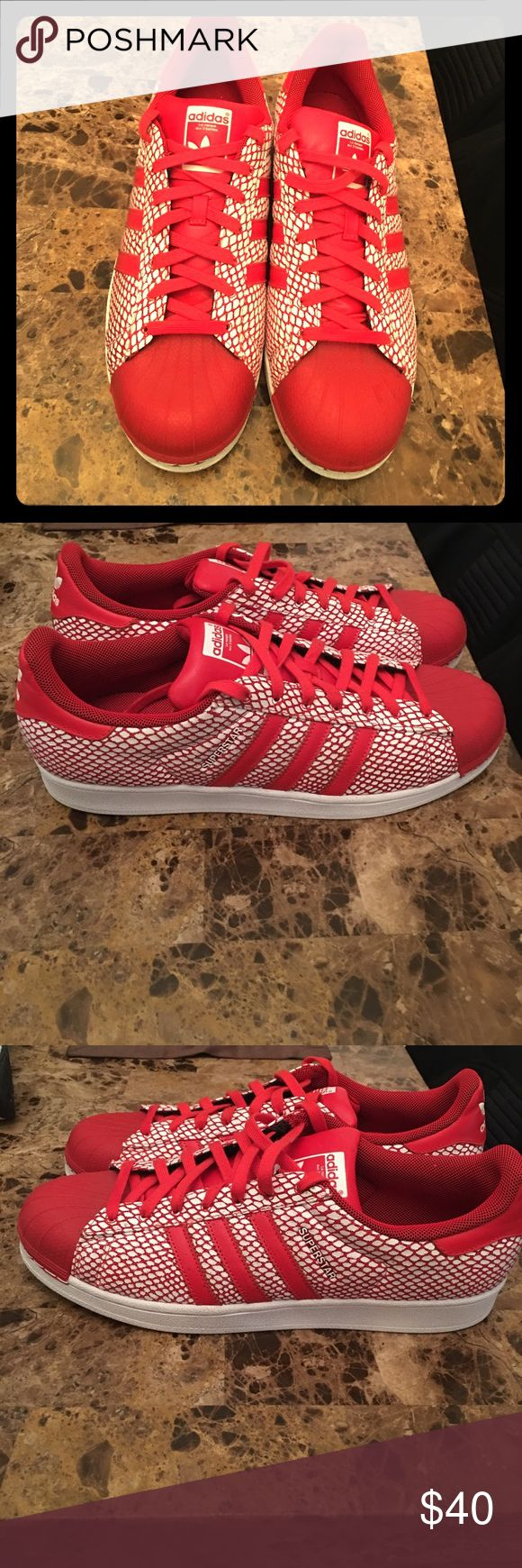 Adidas men shoes Red & white size 13 superstar adidas. Worn once. Adidas Shoes Sneakers