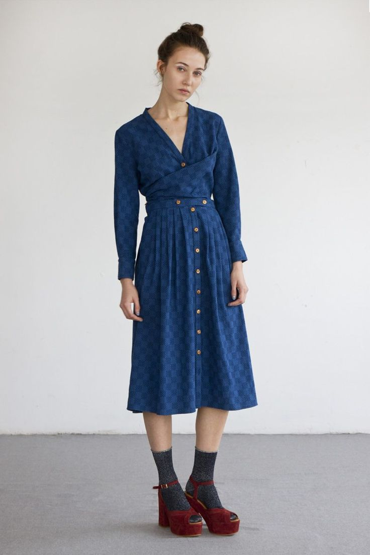 OCTAVE dress in sashiko-embroidered cotton fabric via Heinui. Click on the image to see more!
