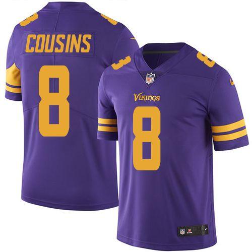 Men s Nike Vikings  8 Kirk Cousins Purple Stitched NFL Limited Color Rush  Jersey 08850d010