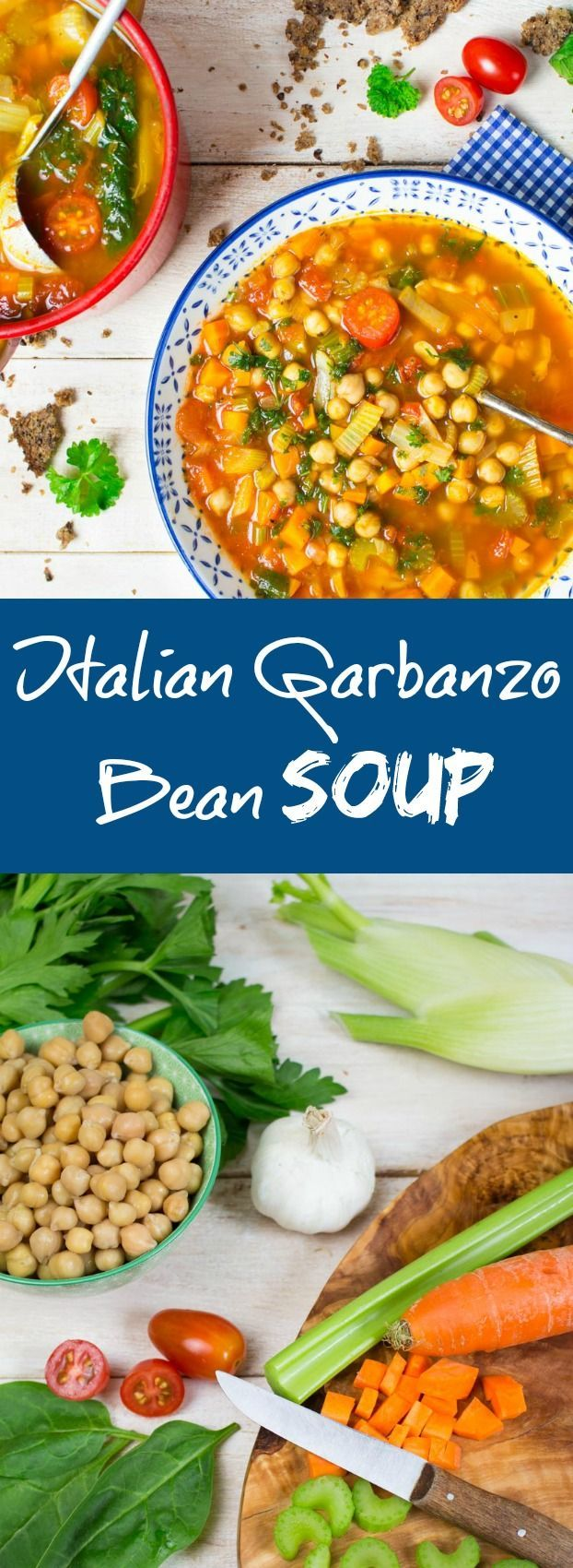 This Italian Garbanzo Bean Soup is super easy to make and packed with flavor and nutrients! Just make sure to cut out the oil  (you never need oil)
