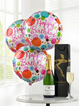 Champagne with Happy Birthday Balloons